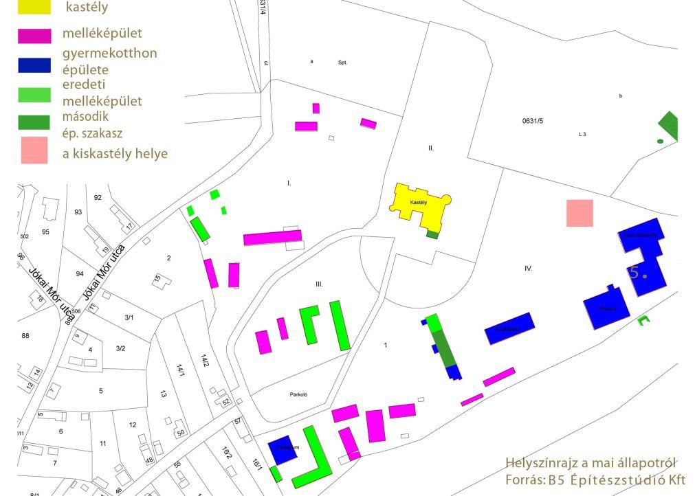 A kastélykert jelenlegi állapota a még meglévő és a már elbontott épületekkel együtt (forrás: B5 Építészstúdió Kft)