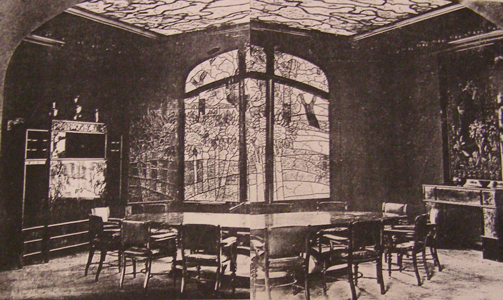 Rippl-Rónai által tervezett ebédlő intérieurje (forrás: KÖH Észak-alföldi Iroda)
