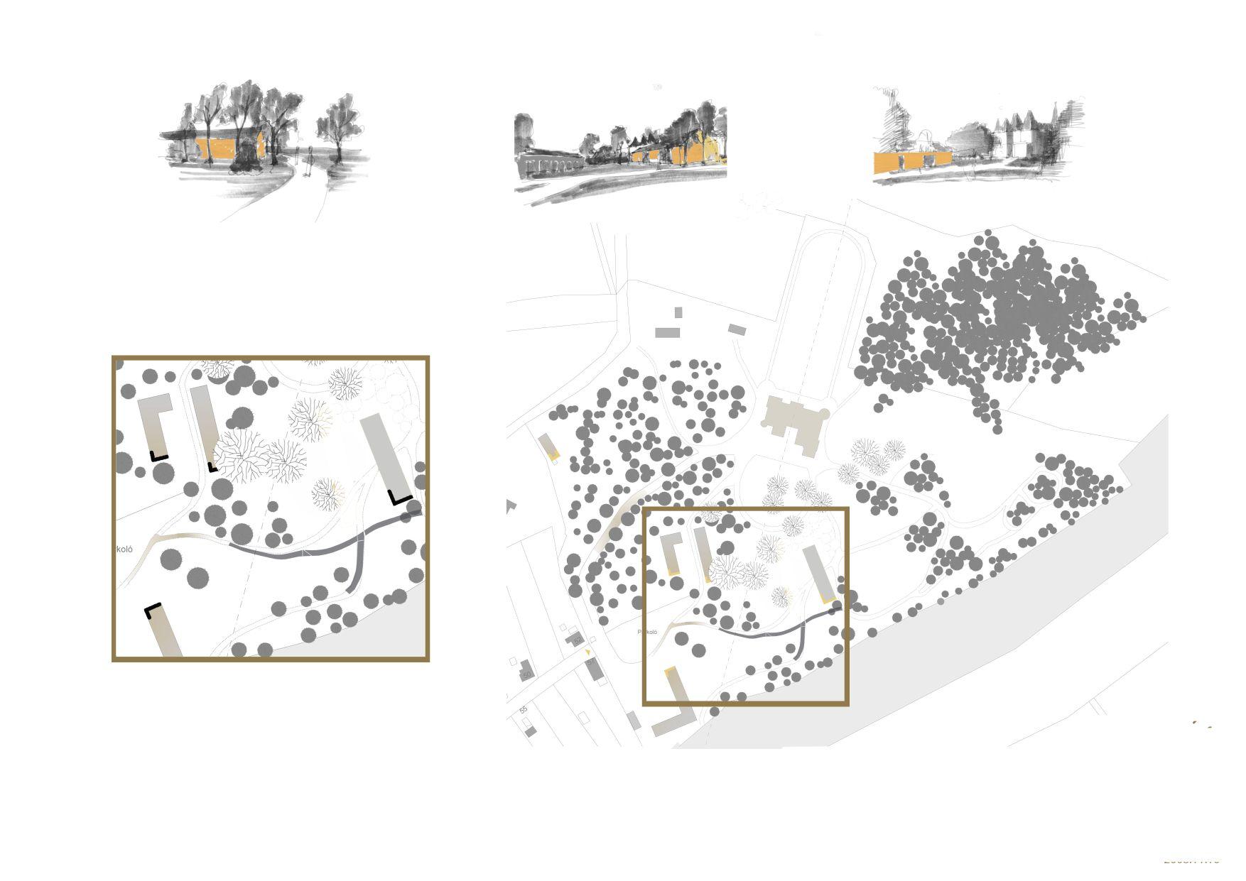 A kiszolgáló épületek feltárulása (1931-es helyszínrajz alapján. Forrás: a szerző tanulmánya)