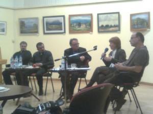 Kelet-Nyugat felolvasóest, 2009. december 10. b-j: Molnár Vilmos, Bakos Kiss Károly, Antall István, Kováts Judit, Csabai László